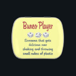 """Bunco Player -Definition Jelly Belly Candy Tin<br><div class=""""desc"""">Fun Bunco Player definition: Bunco Player - Someone that gets delirious over shaking and throwing small cubes of plastic.  Features three small cubes of plastic dice.  Great as a parting,  hostess,  birthday, holiday or other gift.  Great as a prize for your next Bunco event.</div>"""