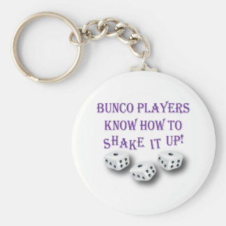 bunco players know how to shake it up! basic round button keychain