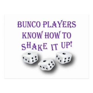 bunco players know how to shake it up! postcard