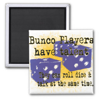 bunco players 2 inch square magnet