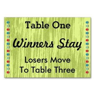 Bunco puntea la tarjeta #1 del número de la tabla
