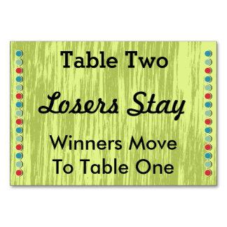 Bunco puntea la tarjeta #2 del número de la tabla