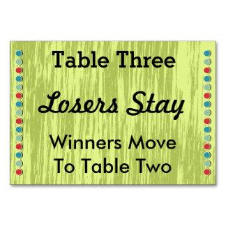Bunco puntea la tarjeta #3 del número de la tabla