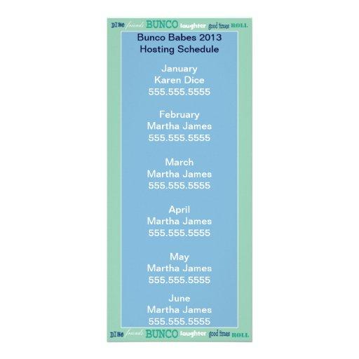 Bunco que recibe horario, el calendario o la lista tarjeta publicitaria personalizada