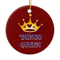 Bunco Queen Christmas Holiday Heart Crown Red Ceramic Ornament