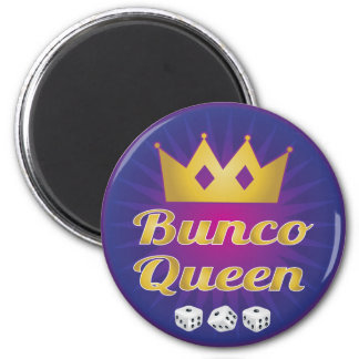 Bunco Queen Crown and Dice 2 Inch Round Magnet