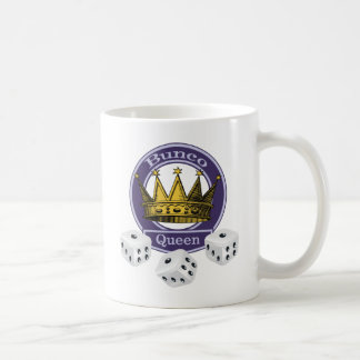 Bunco Queen Crown and Dice Classic White Coffee Mug