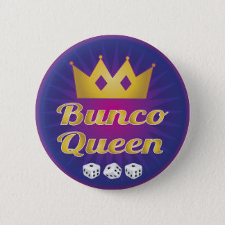 Bunco Queen Crown and Dice Pinback Button