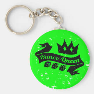 Bunco Queen Crown and Dice Ribbon - Grunge Texture Keychain