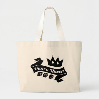Bunco Queen Crown and Dice Ribbon Large Tote Bag
