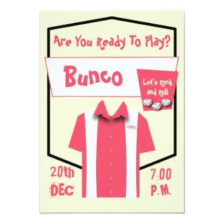 Bunco Retro Pink Hipster Bowling Rockabilly Card