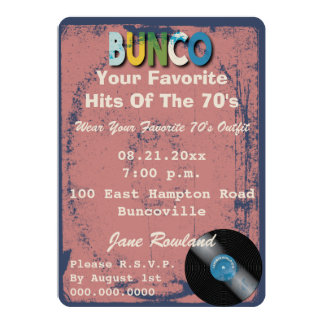 Bunco Retro Rock and Roll Music Theme Card