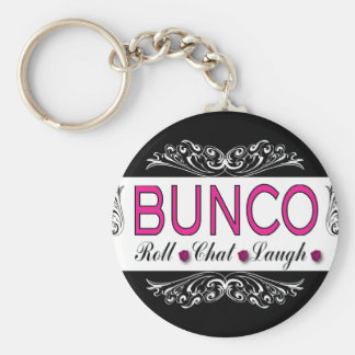 Bunco, Roll, Chat, Laugh In Pink, Black and White Basic Round Button Keychain