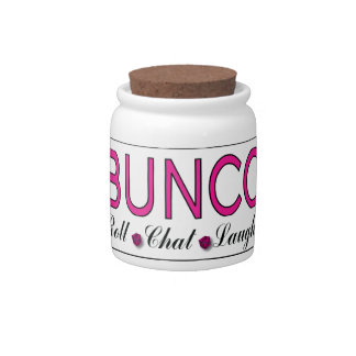Bunco, Roll, Chat, Laugh In Pink, Black and White Candy Jars