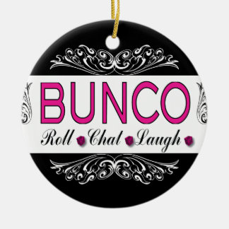 Bunco, Roll, Chat, Laugh In Pink, Black and White Ceramic Ornament