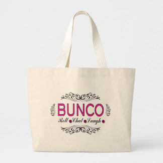 Bunco, Roll, Chat, Laugh In Pink, Black and White Large Tote Bag