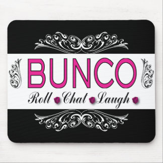 Bunco, Roll, Chat, Laugh In Pink, Black and White Mouse Pad