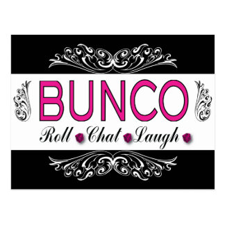 Bunco, Roll, Chat, Laugh In Pink, Black and White Postcard