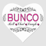 Bunco, Roll, Chat, Laugh In Pink, Black and White Heart Sticker