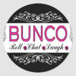 Bunco, Roll, Chat, Laugh In Pink, Black and White Stickers