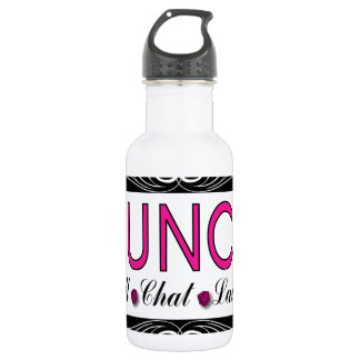 Bunco, Roll, Chat, Laugh In Pink, Black and White Water Bottle