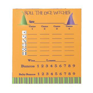Bunco Score Pad = Halloween Memo Note Pads