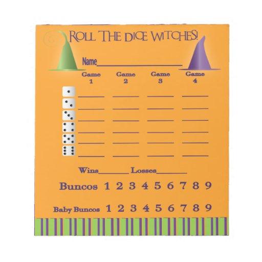 Bunco Score Pad = Halloween Memo Pad