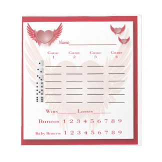 bunco score pad - heart with wings scratch pad