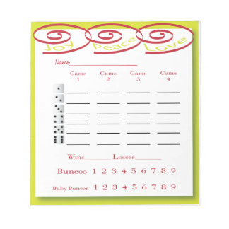 bunco score pad - joy, peace, love