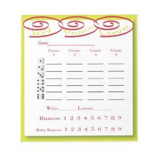 bunco score pad - joy peace love scratch pads