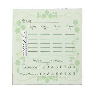 Bunco Score Pad March Green Floral Art Nouveau