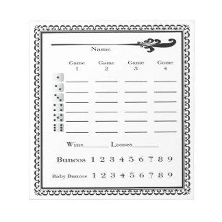 Bunco Score Pad Note Pads