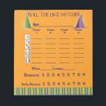 """Bunco Score Pad October Theme Witch Halloween<br><div class=""""desc"""">Here is an attractive Halloween Inspired Bunco Score Pad to use at your next Bunco event. Features text that reads &quot;Roll The Dice Witches&quot; and two witches hats. Add some fun to your Halloween Bunco Party. Features easy to read text, includes Baby Buncos, Bunco, WIns and Losses. Dice are featured...</div>"""