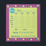 "bunco score pad or score card - polka dots<br><div class=""desc"">Add some pizzazz to your bunco events with this stylish score pad. Featured are colorful green, blue and pink polka dots on a purple background. Score pad includes baby buncos also known as small buncos or funcos. Easy to read score pad shows dice and has columns for four rounds of...</div>"