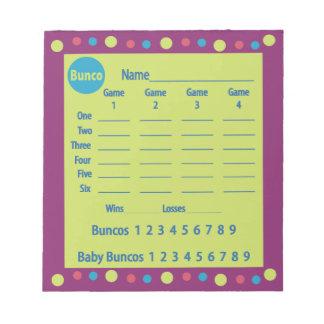 bunco score pad or score card - polka dots