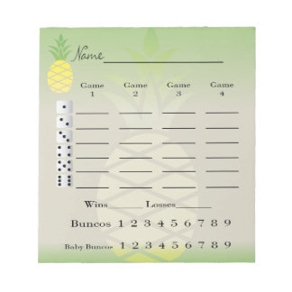 bunco score pad or score card - tropical pineapple notepads