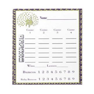 bunco score pad - peacock design scratch pad