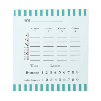 bunco score pad - retro colored blue and yellow