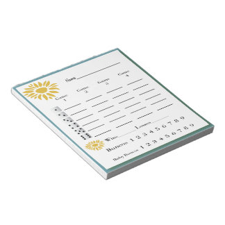 bunco score pad - sunflowers