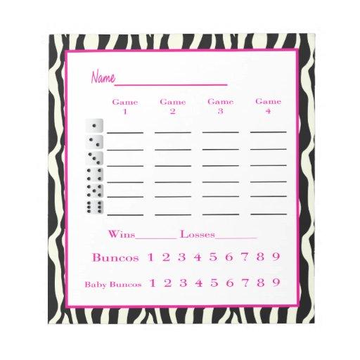 Bunco Score Pad Zebra Design Zazzle