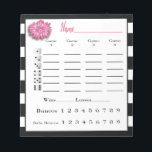 """Bunco Score Sheets Black and White Pink Flower Notepad<br><div class=""""desc"""">Festive and classic pink, white and black color theme creates a wonderful Bunco or Bunko score sheet pad. Perfect for your ladies night out Bunco game night party.</div>"""