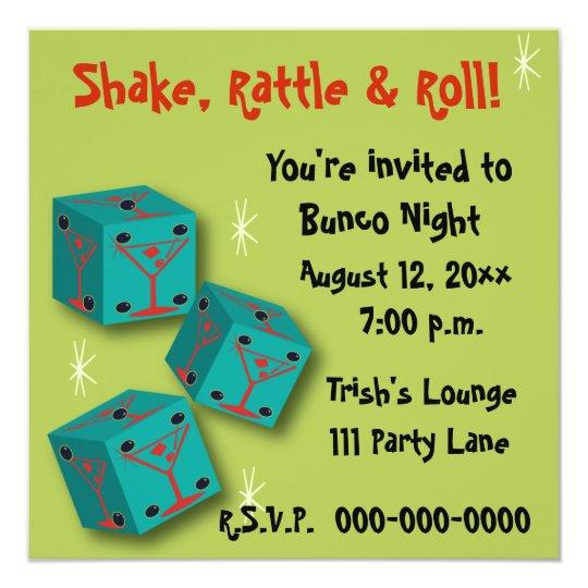 Bunco Shake Rattle Roll Martini Dice Invite Zazzle Com