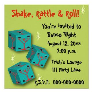 Bunco - Shake Rattle Roll Martini Dice Invite