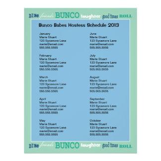 Bunco Subway Hosting Calendar Flyer