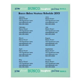 Bunco Subway Hosting Calendar Personalized Flyer