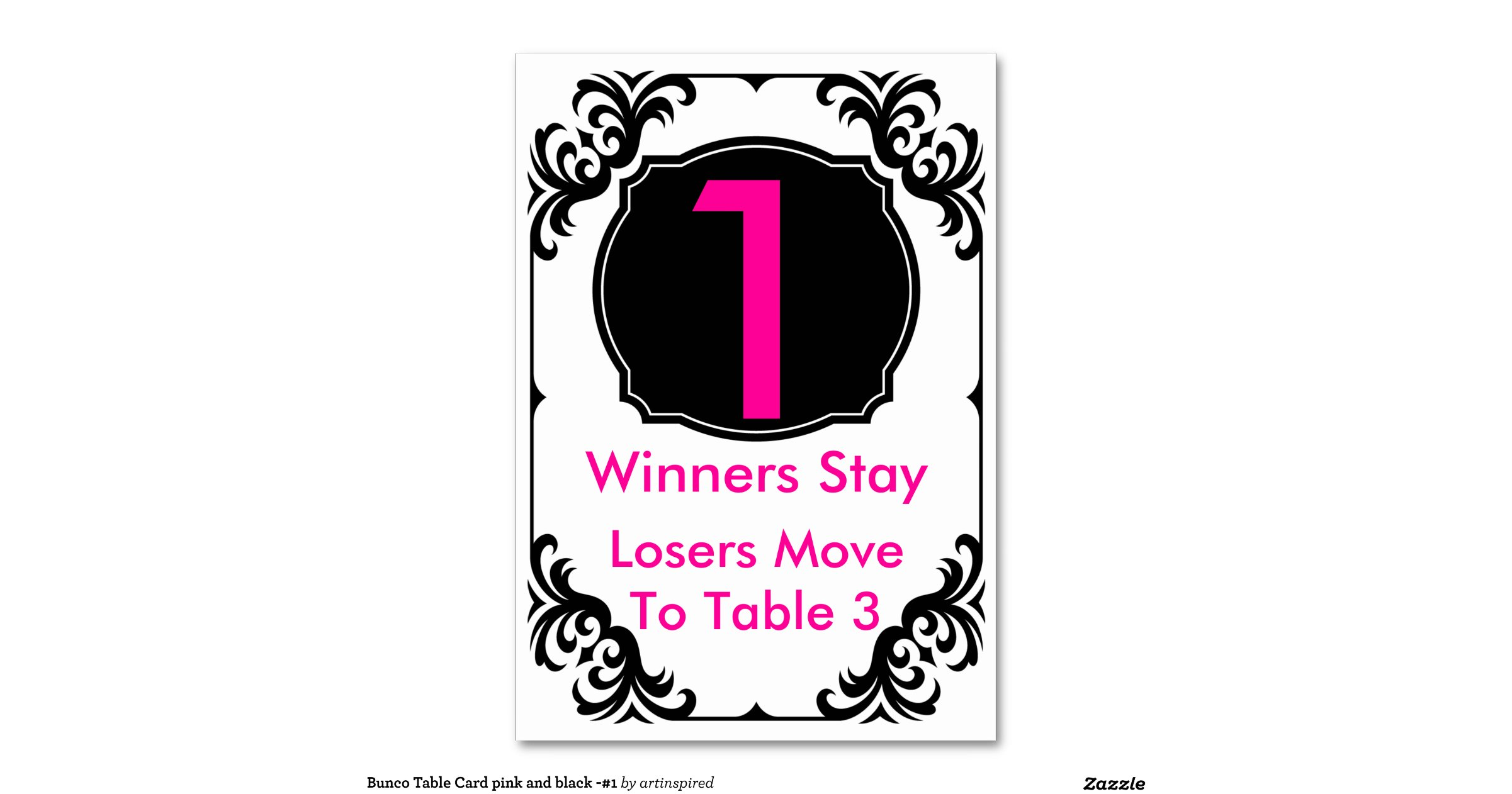 Bunco Table Card Pink And Black 1 Zazzle