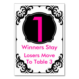 Bunco Table Card pink and black -#1
