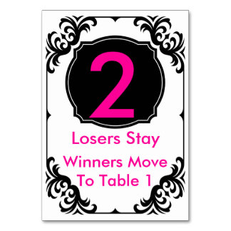 Bunco Table Card  pink and black - #2