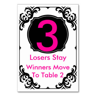 Bunco Table Card pink and black - #3