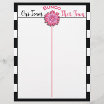 Bunco Tally Score Sheet Black & White Pink Flower